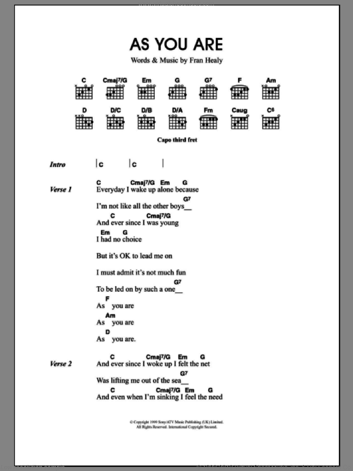 As You Are sheet music for guitar (chords) by Merle Travis and Fran Healy, intermediate skill level