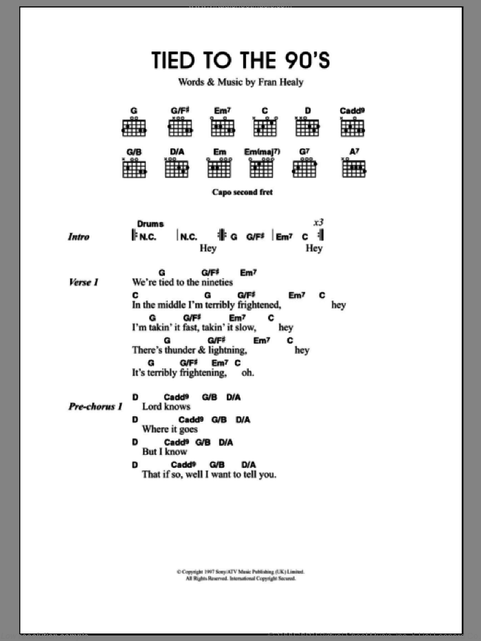 Tied To The 90s sheet music for guitar (chords) by Fran Healy and Merle Travis. Score Image Preview.