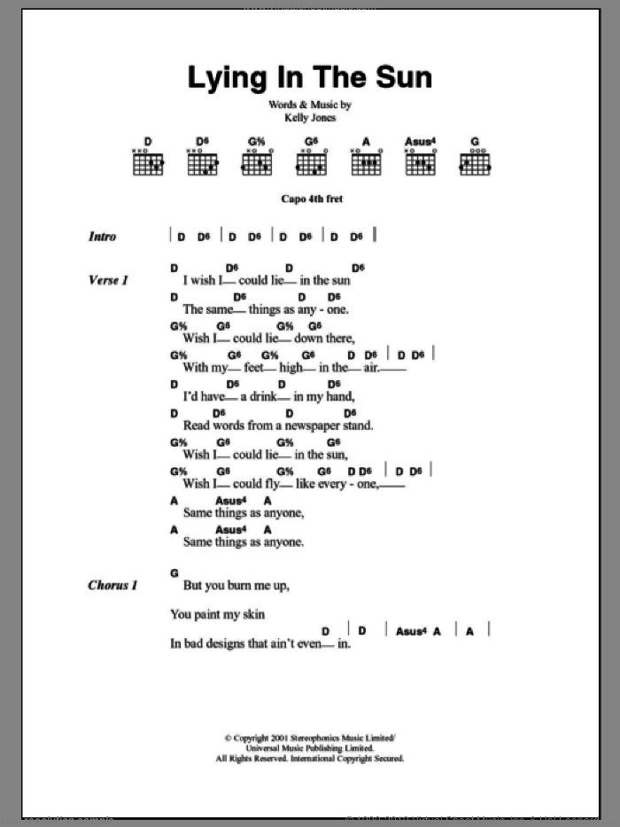 Lying In The Sun sheet music for guitar (chords) by Stereophonics and Kelly Jones, intermediate skill level
