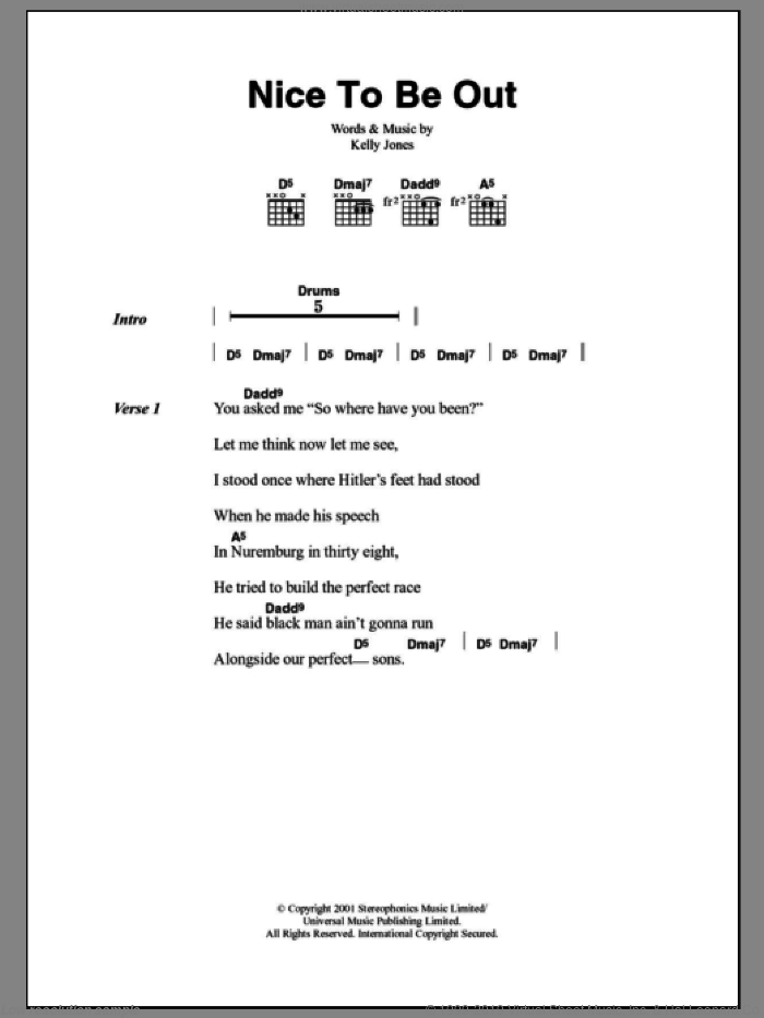 Nice To Be Out sheet music for guitar (chords) by Kelly Jones