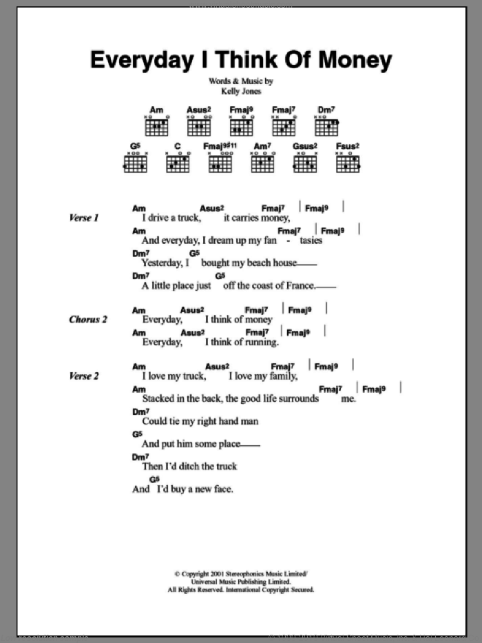 Everyday I Think Of Money sheet music for guitar (chords) by Kelly Jones
