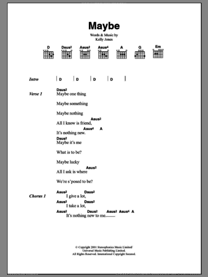 Maybe sheet music for guitar (chords) by Stereophonics. Score Image Preview.