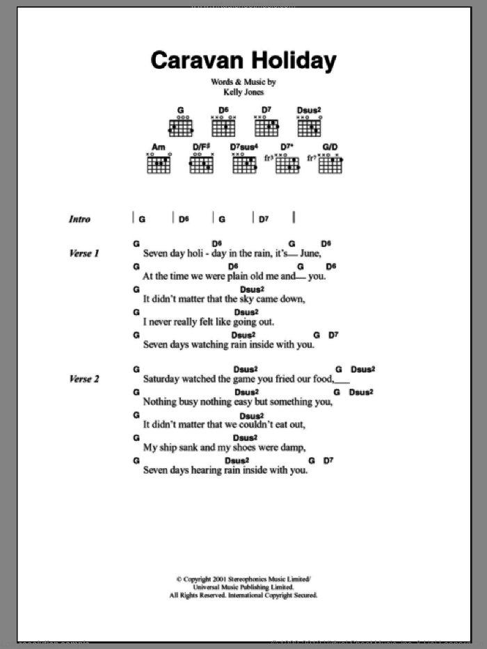 Caravan Holiday sheet music for guitar (chords) by Kelly Jones and Stereophonics. Score Image Preview.