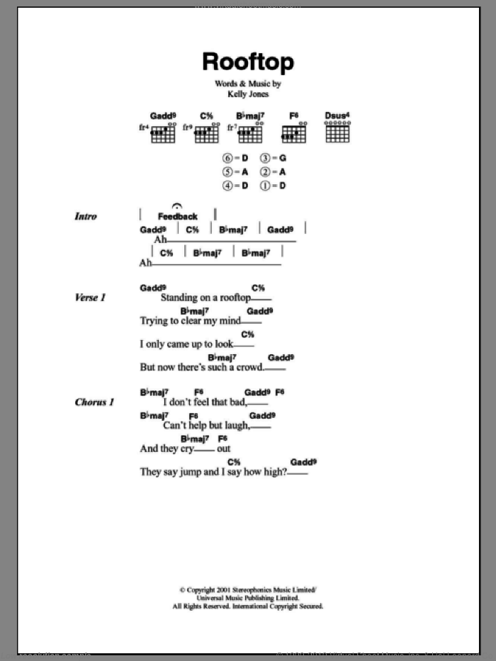 Rooftop sheet music for guitar (chords, lyrics, melody) by Kelly Jones