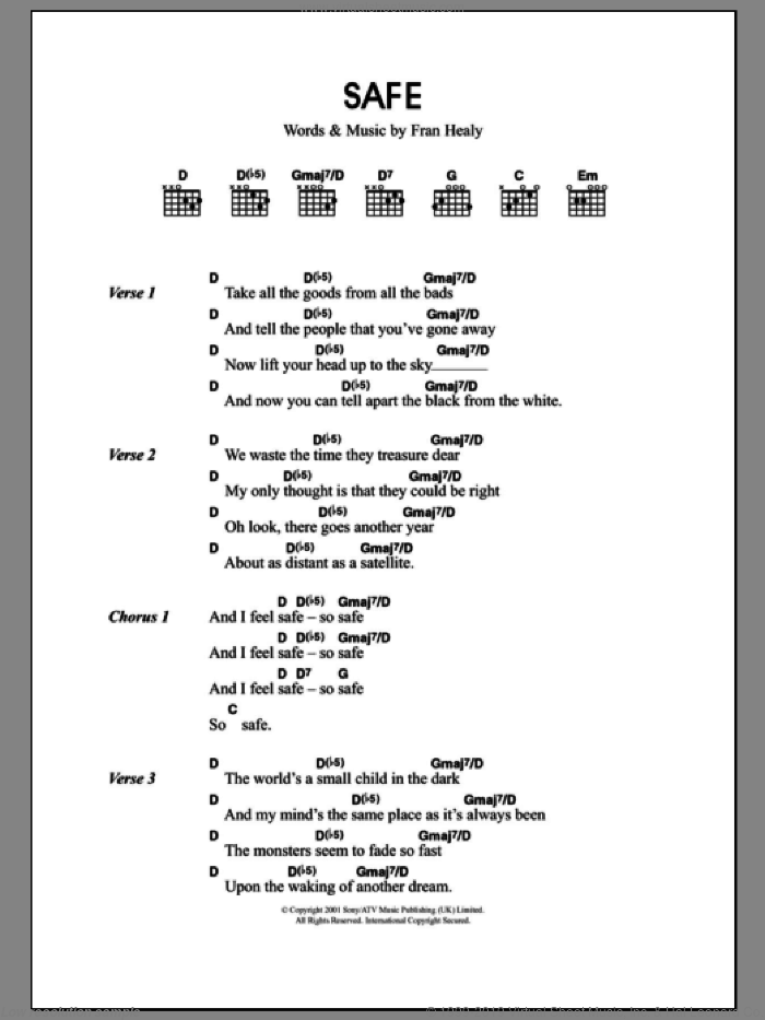 Safe sheet music for guitar (chords) by Fran Healy and Merle Travis. Score Image Preview.