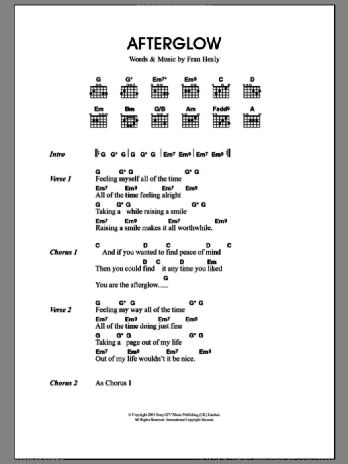 Afterglow sheet music for guitar (chords) by Merle Travis and Fran Healy, intermediate skill level