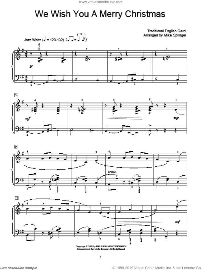 We Wish You A Merry Christmas sheet music for piano solo (elementary), beginner piano (elementary)