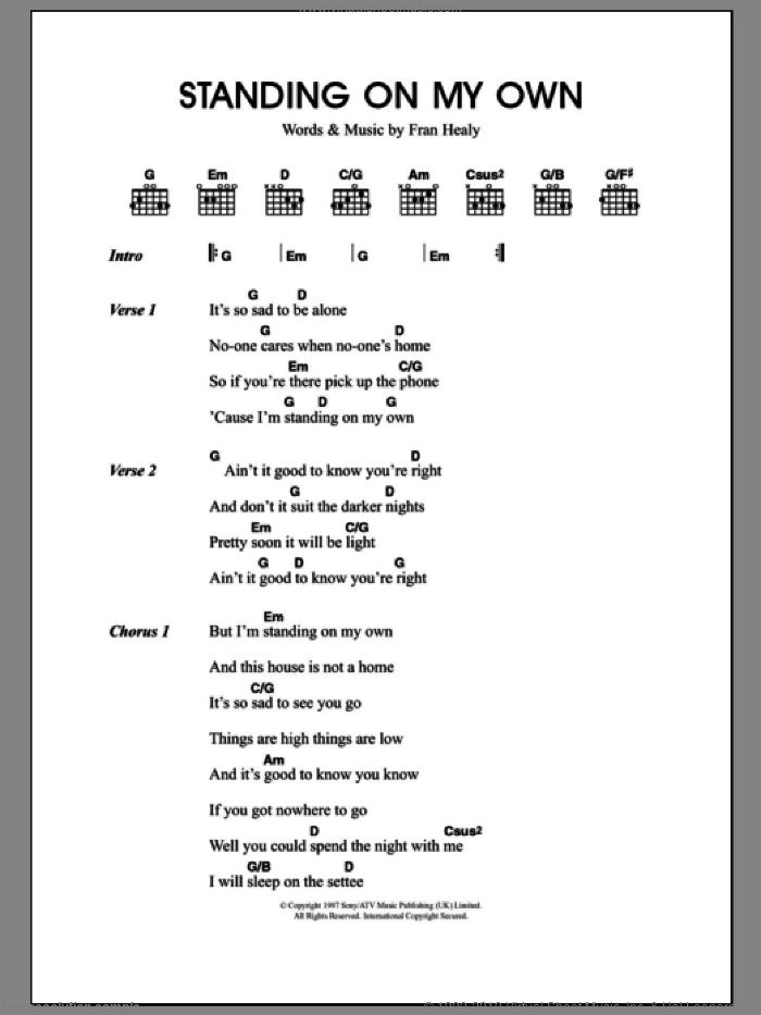 Standing On My Own sheet music for guitar (chords) by Fran Healy and Merle Travis. Score Image Preview.