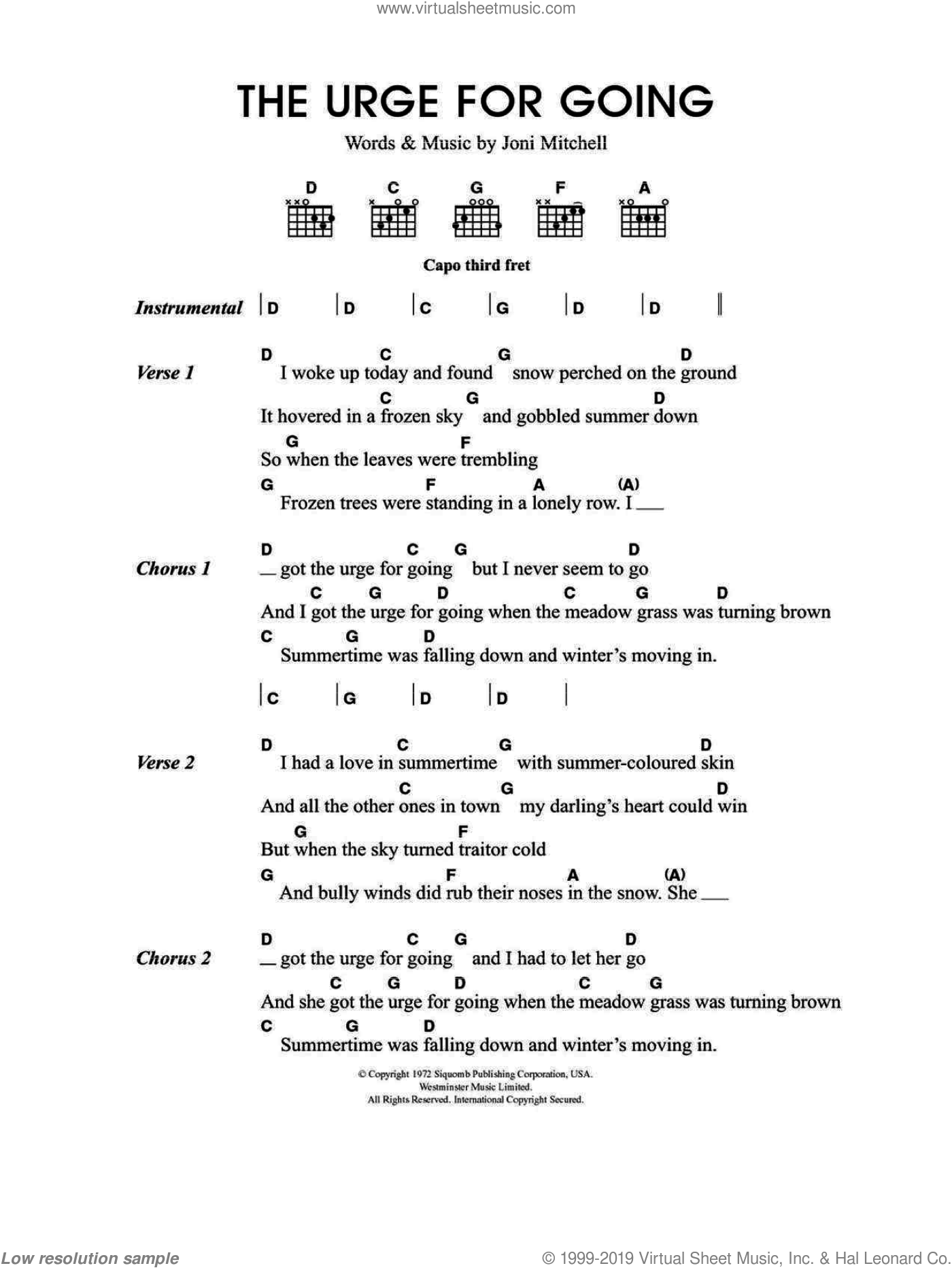 Urge For Going sheet music for guitar (chords, lyrics, melody) by Merle Travis