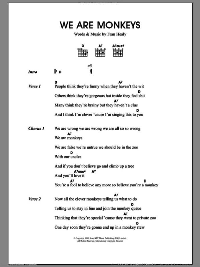 We Are Monkeys sheet music for guitar (chords) by Fran Healy and Merle Travis. Score Image Preview.