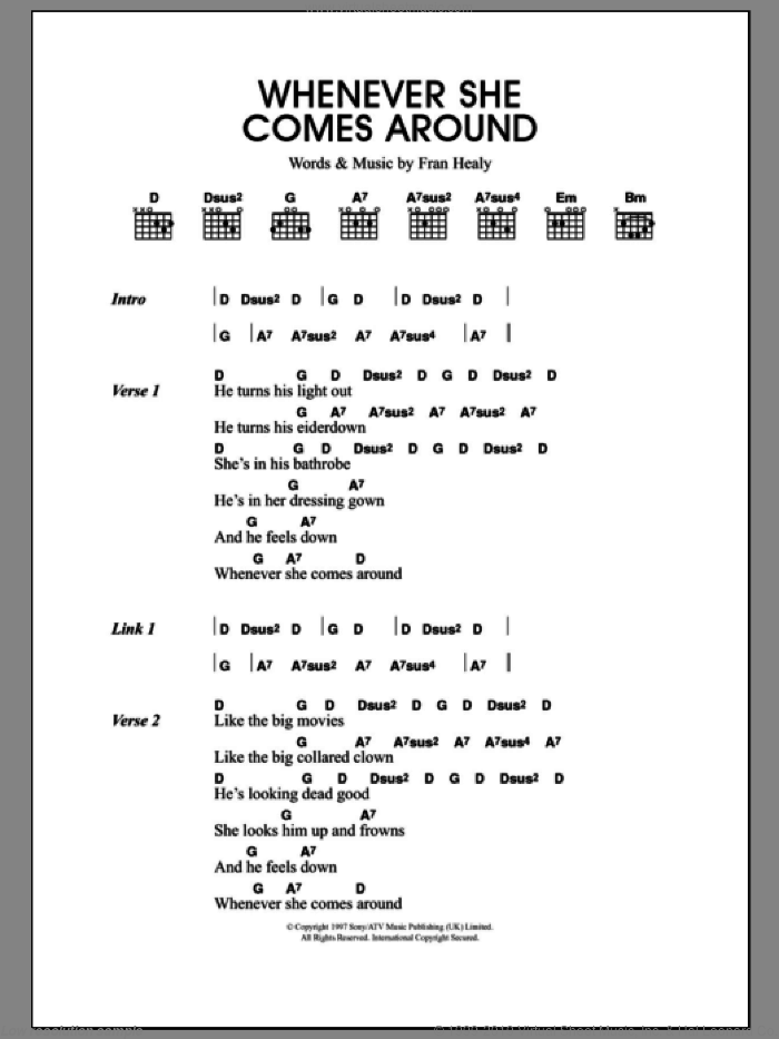 Whenever She Comes Around sheet music for guitar (chords, lyrics, melody) by Fran Healy