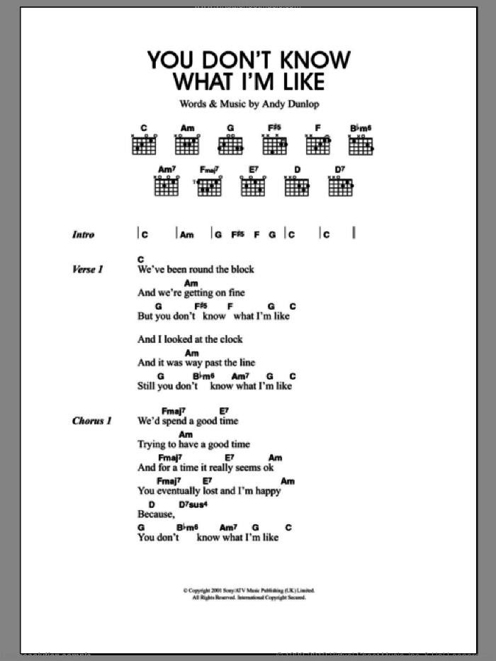 You Don't Know What I'm Like sheet music for guitar (chords, lyrics, melody) by Andrew Dunlop