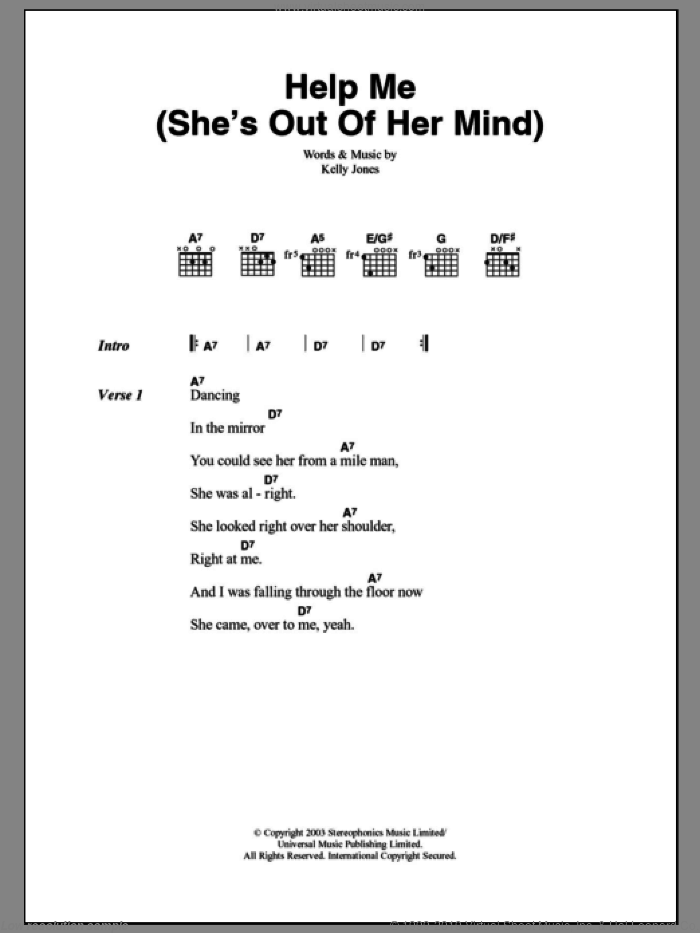 Help Me (She's Out Of Her Mind) sheet music for guitar (chords) by Kelly Jones and Stereophonics