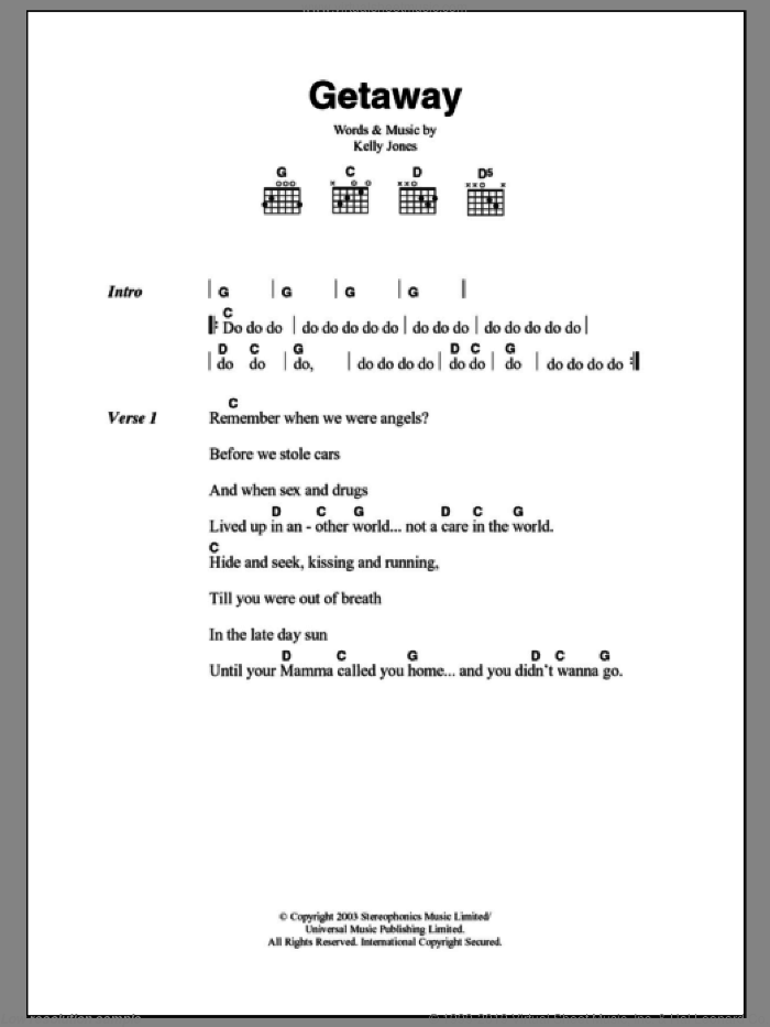 Getaway sheet music for guitar (chords) by Kelly Jones and Stereophonics. Score Image Preview.