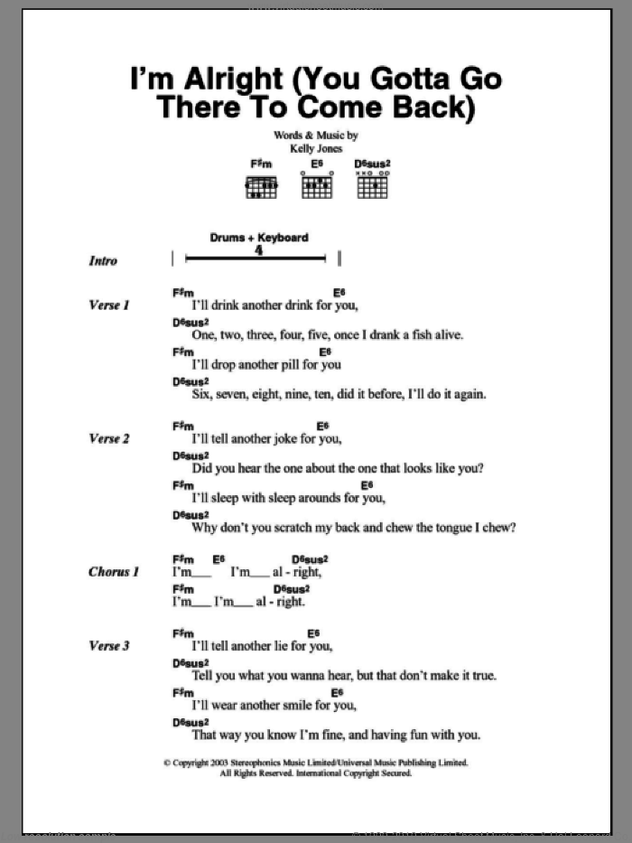 I'm Alright (You Gotta Go There To Come Back) sheet music for guitar (chords) by Stereophonics and Kelly Jones, intermediate skill level