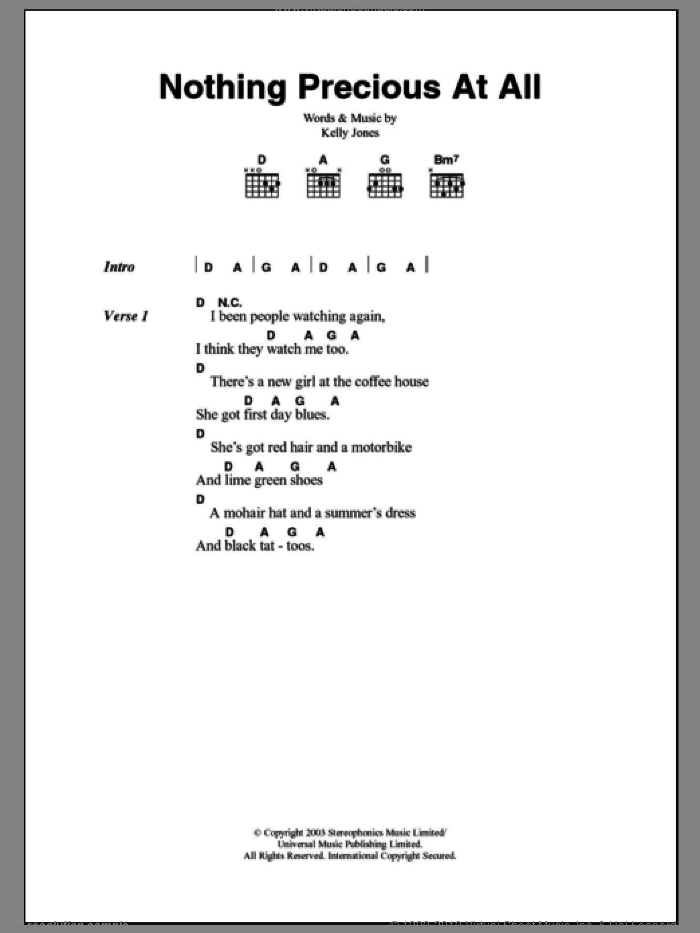 Nothing Precious At All sheet music for guitar (chords) by Kelly Jones and Stereophonics. Score Image Preview.