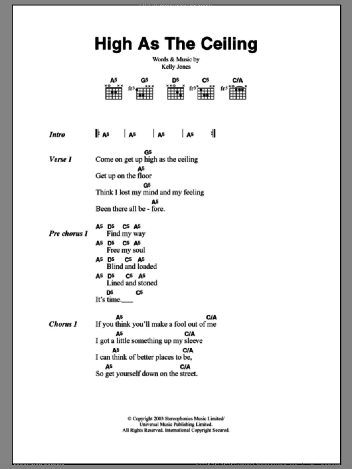 High As The Ceiling sheet music for guitar (chords) by Stereophonics and Kelly Jones, intermediate. Score Image Preview.