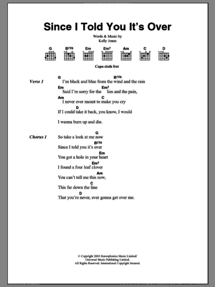 Since I Told You It's Over sheet music for guitar (chords) by Kelly Jones and Stereophonics. Score Image Preview.