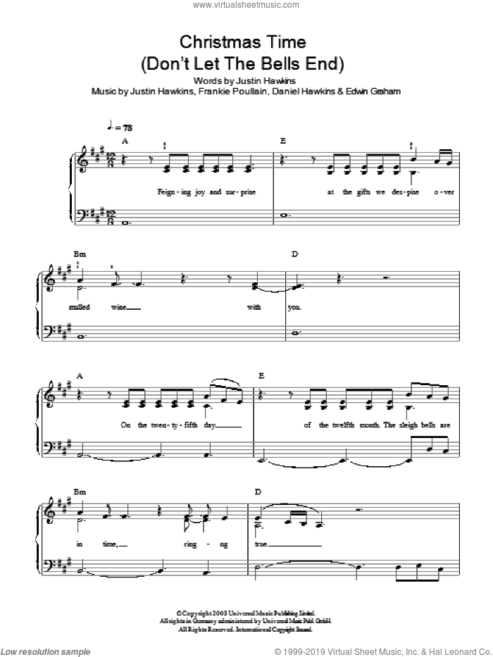 Christmas Time (Don't Let The Bells End) sheet music for piano solo by Justin Hawkins and Daniel Hawkins. Score Image Preview.