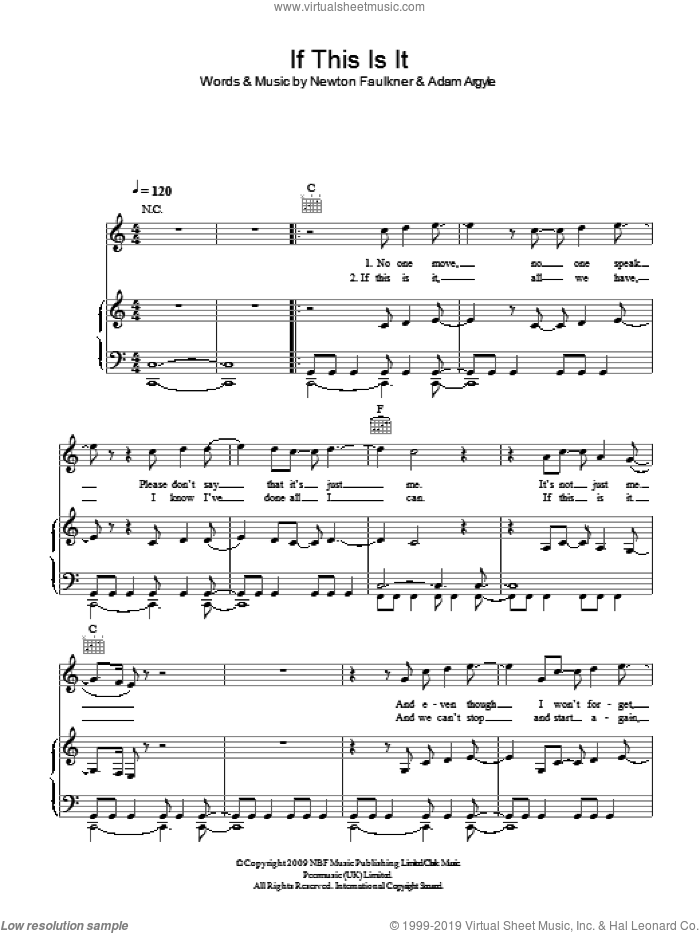 If This Is It sheet music for voice, piano or guitar by Newton Faulkner and Adam Argyle, intermediate