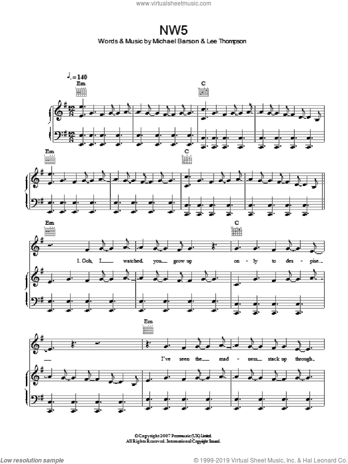 NW5 sheet music for voice, piano or guitar by Madness, intermediate voice, piano or guitar. Score Image Preview.