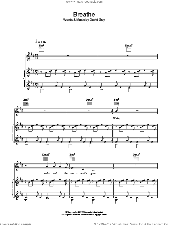 Breathe sheet music for voice, piano or guitar by David Gray. Score Image Preview.