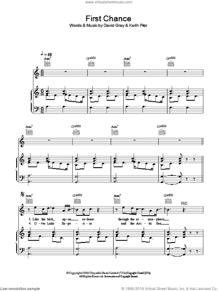 First Chance sheet music for voice, piano or guitar by David Gray and Keith Prior, intermediate skill level