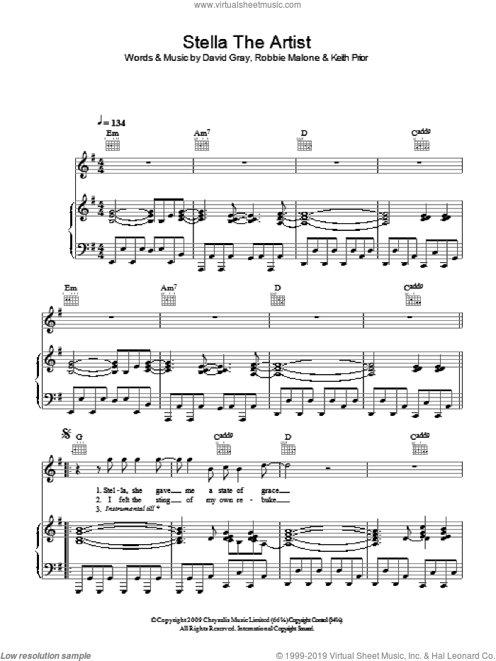 Stella The Artist sheet music for voice, piano or guitar by David Gray, Keith Prior and Robbie Malone, intermediate