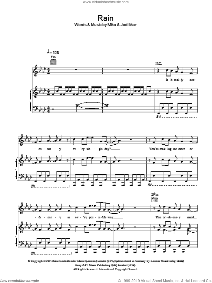 Rain sheet music for voice, piano or guitar by Mika. Score Image Preview.