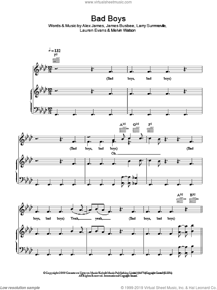 Bad Boys sheet music for voice, piano or guitar by Melvin Watson