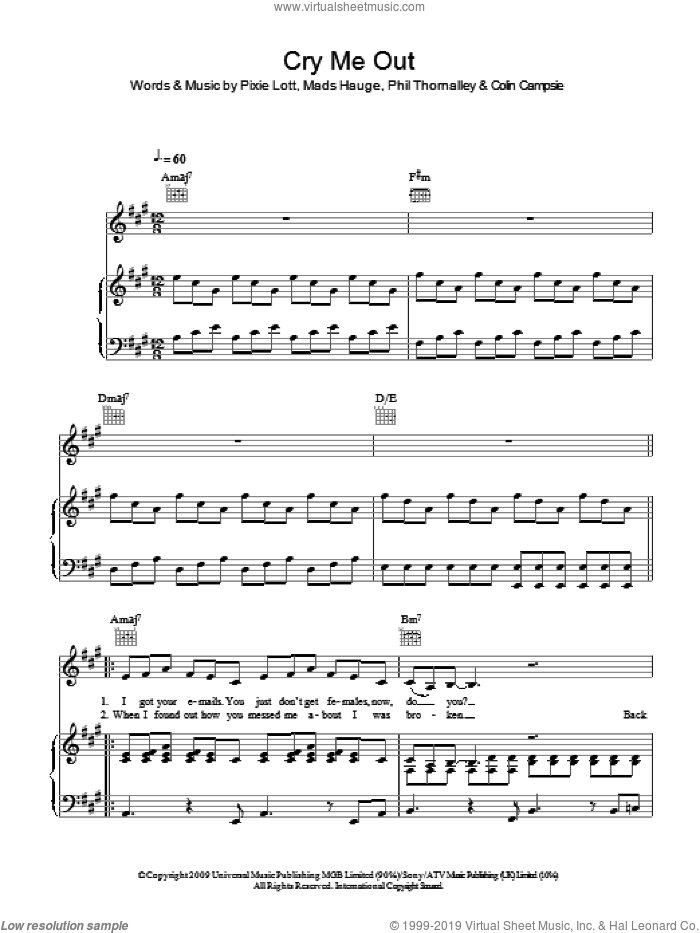 Cry Me Out sheet music for voice, piano or guitar by Phil Thornalley, Mads Hauge and Pixie Lott. Score Image Preview.