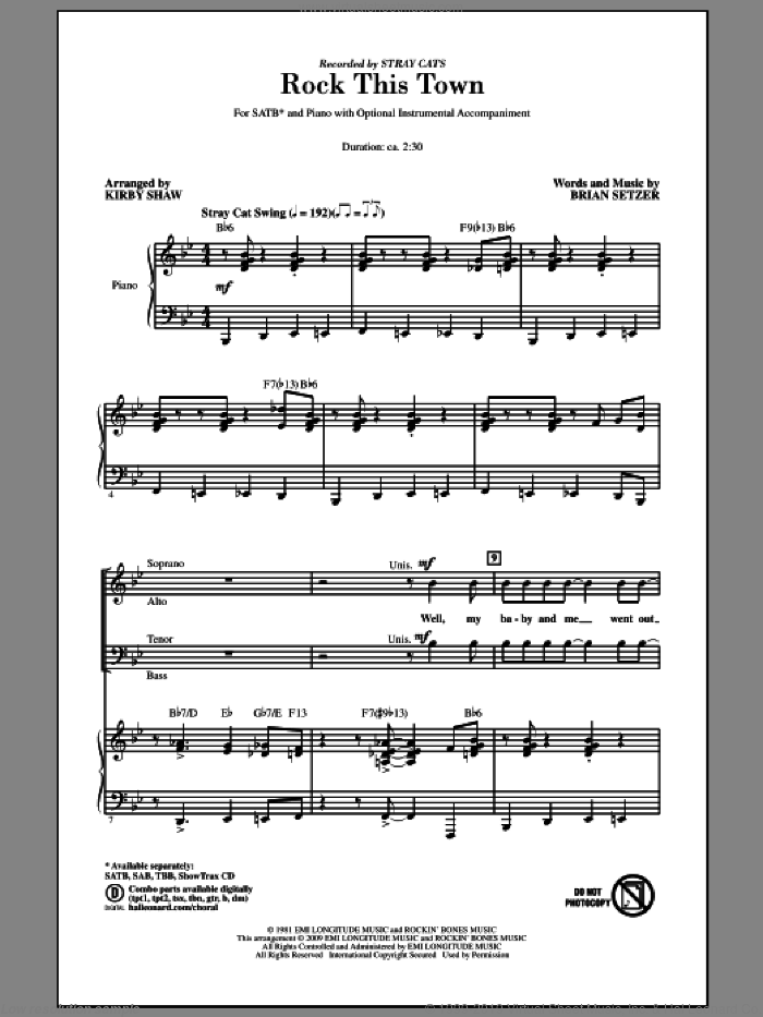 Rock This Town sheet music for choir (SATB: soprano, alto, tenor, bass) by Brian Setzer, Kirby Shaw and Stray Cats, intermediate skill level