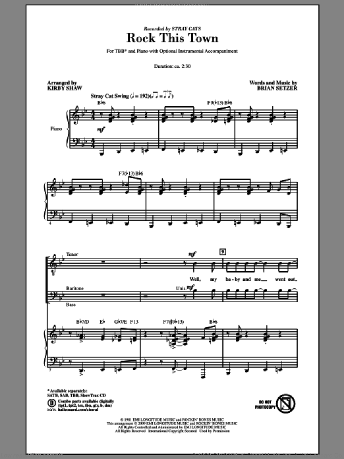 Rock This Town sheet music for choir (tenor voice, bass voice, choir) by Brian Setzer, Kirby Shaw and Stray Cats. Score Image Preview.