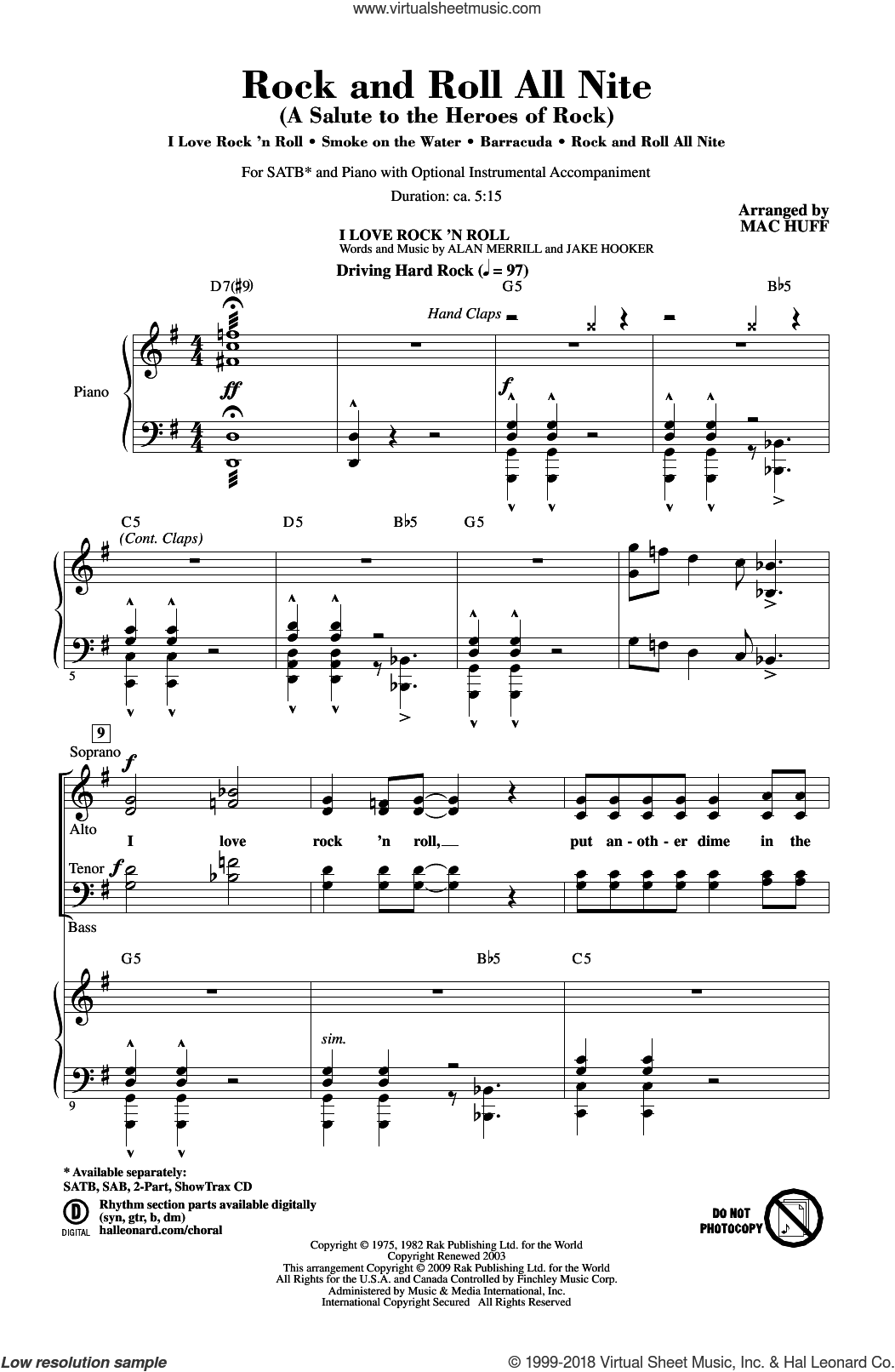 Rock And Roll All Nite (A Salute to The Heroes Of Rock) sheet music for choir (SATB) by Mac Huff, Heart, Ann Wilson and Nancy Wilson. Score Image Preview.