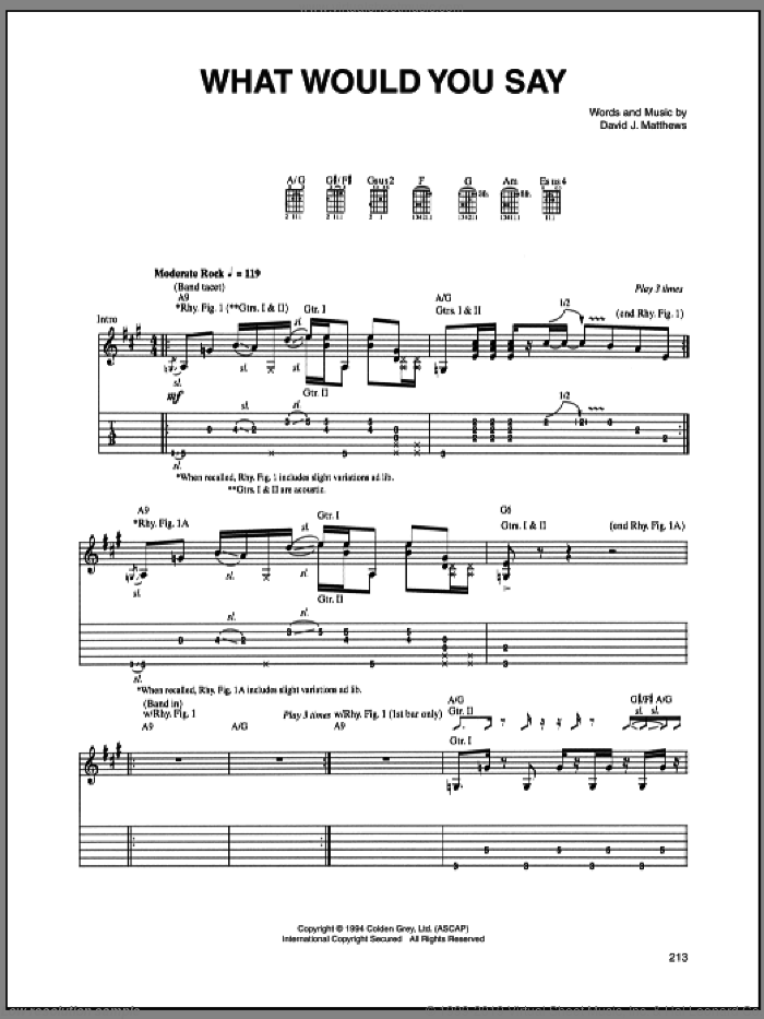 What Would You Say sheet music for guitar (tablature) by Dave Matthews Band. Score Image Preview.