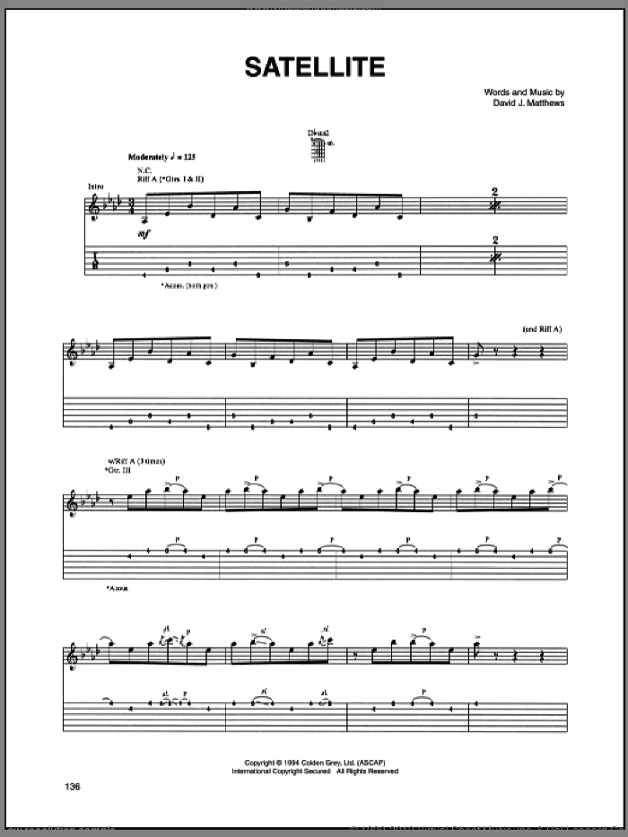 Satellite sheet music for guitar (tablature) by Dave Matthews Band. Score Image Preview.