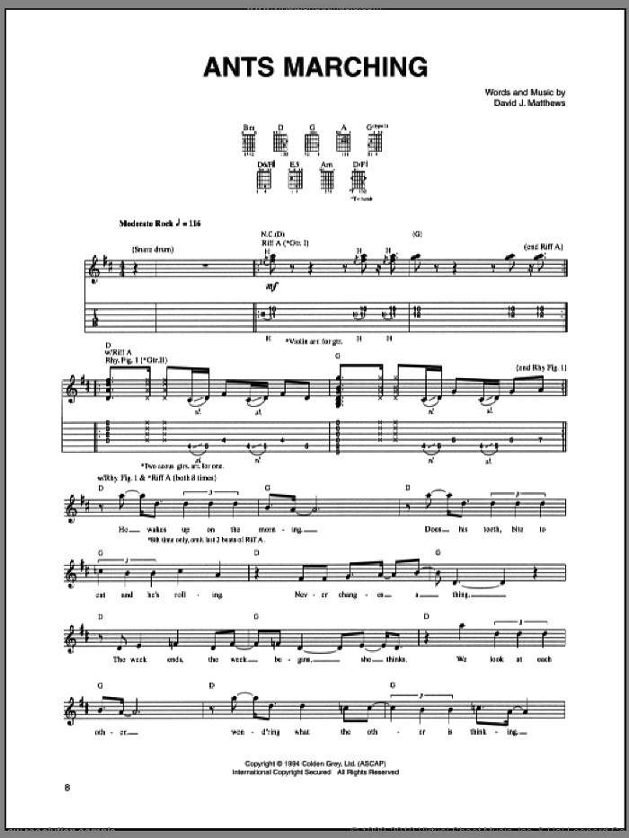 Ants Marching sheet music for guitar (tablature) by Dave Matthews Band. Score Image Preview.