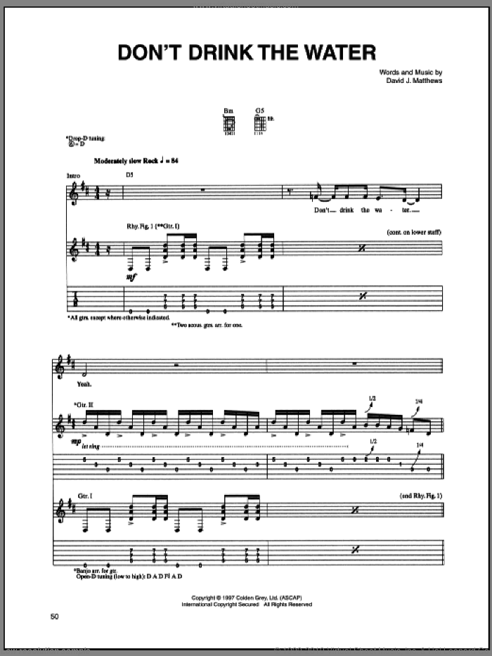 Don't Drink The Water sheet music for guitar (tablature) by Dave Matthews Band, intermediate. Score Image Preview.