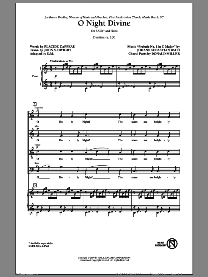 O Night Divine sheet music for choir and piano (SATB) by Johann Sebastian Bach