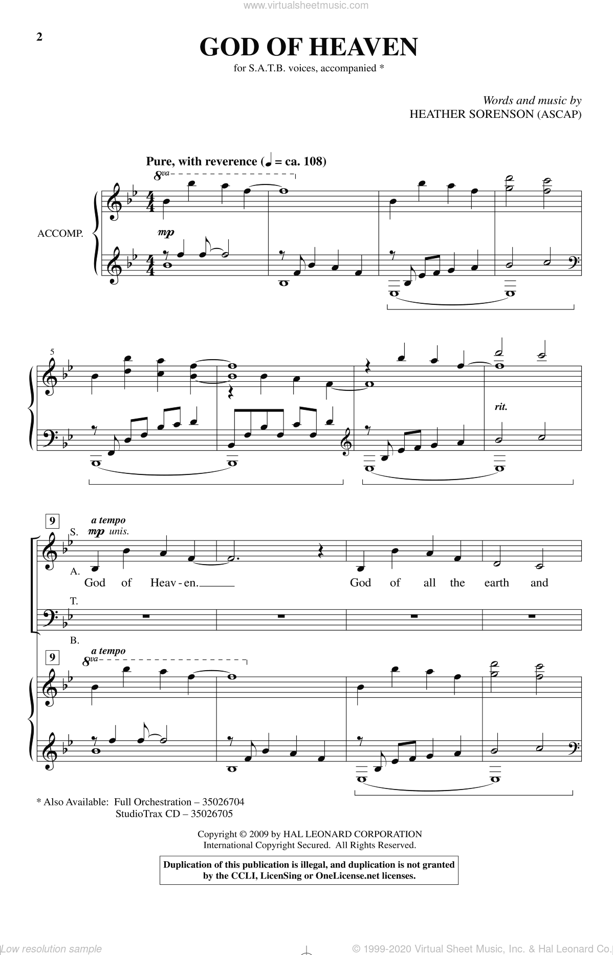 God Of Heaven sheet music for choir and piano (SATB) by Heather Sorenson