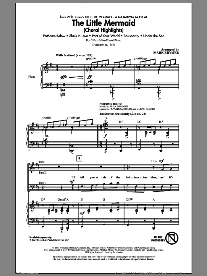 The Little Mermaid (Choral Highlights) sheet music for choir (3-Part Mixed) by Alan Menken and Mark Brymer, intermediate. Score Image Preview.