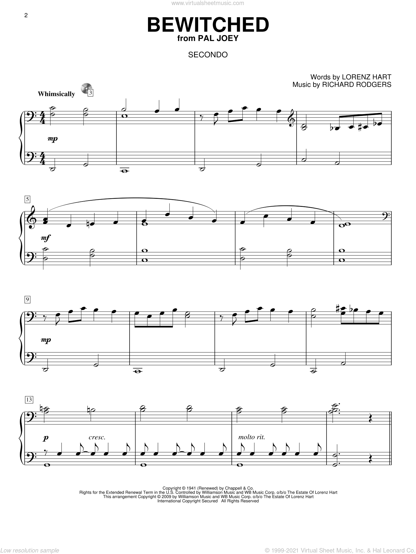 Bewitched sheet music for piano four hands (duets) by Richard Rodgers