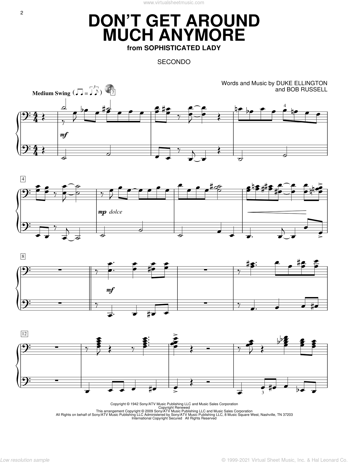 Don't Get Around Much Anymore sheet music for piano four hands (duets) by Bob Russell and Duke Ellington