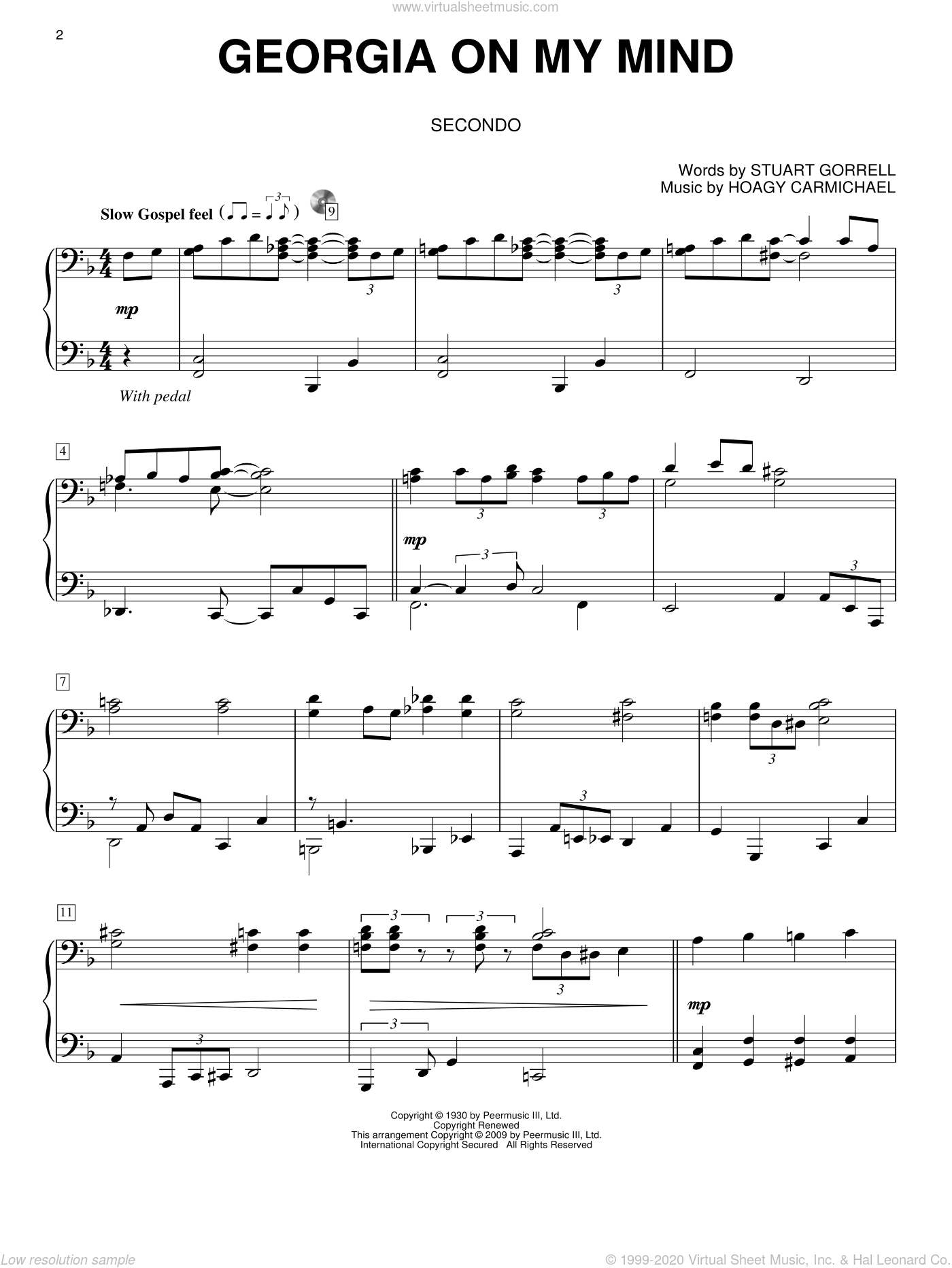 Georgia On My Mind sheet music for piano four hands (duets) by Stuart Gorrell, Ray Charles, Willie Nelson and Hoagy Carmichael. Score Image Preview.