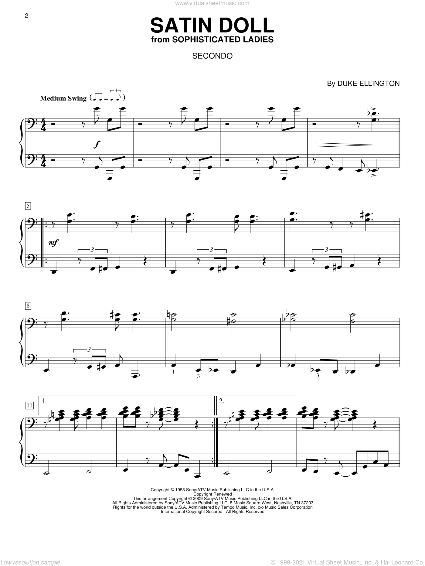 Satin Doll sheet music for piano four hands (duets) by Duke Ellington, Billy Strayhorn and Johnny Mercer. Score Image Preview.