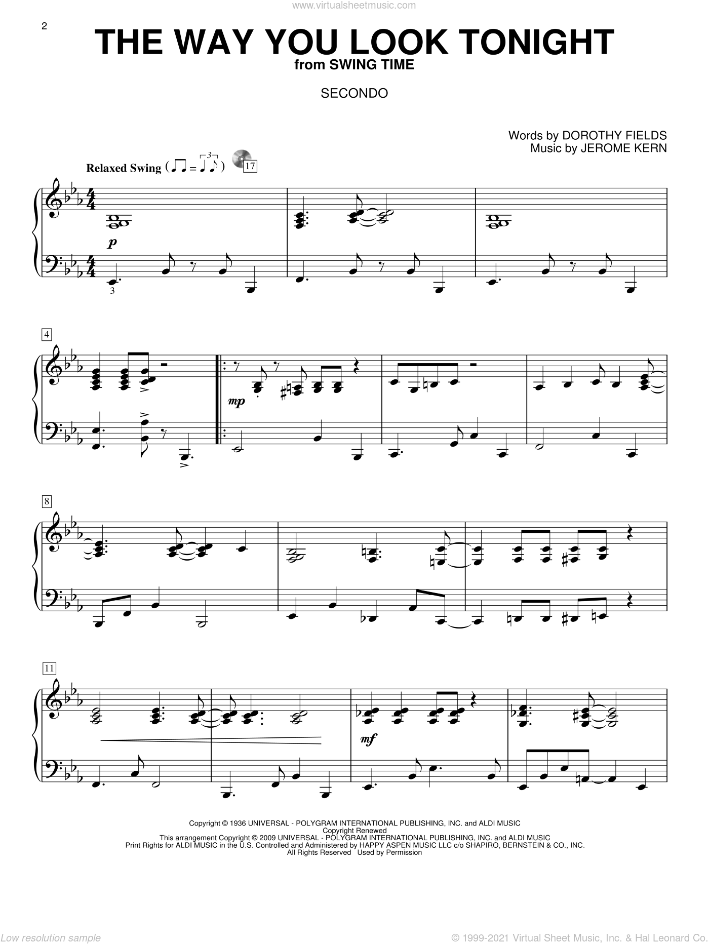 The Way You Look Tonight sheet music for piano four hands by Jerome Kern and Dorothy Fields, wedding score, intermediate. Score Image Preview.