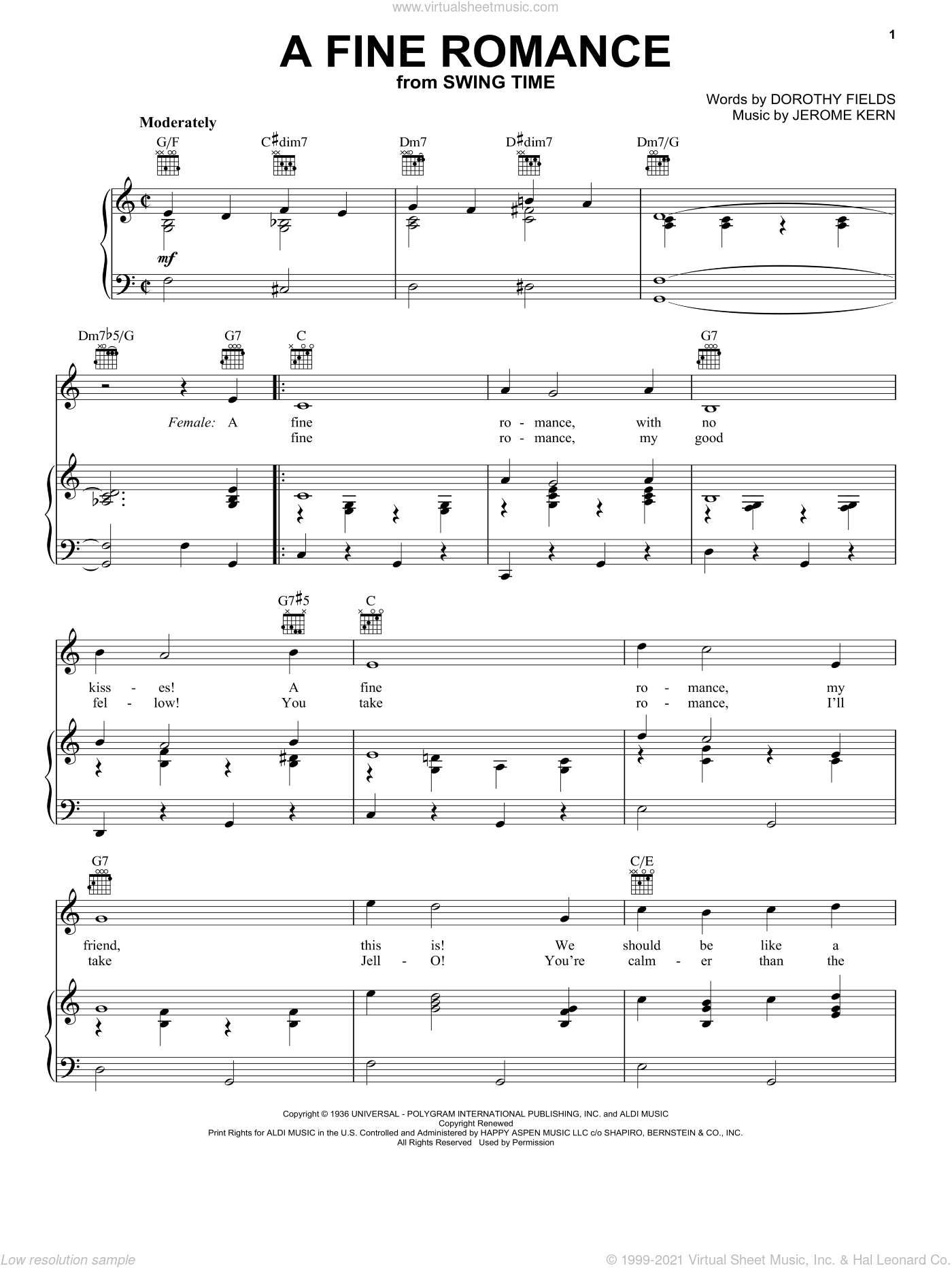 A Fine Romance sheet music for voice, piano or guitar by Jerome Kern, Billie Holiday, Ella Fitzgerald, Frank Sinatra, Fred Astaire, Lena Horne and Dorothy Fields, intermediate skill level