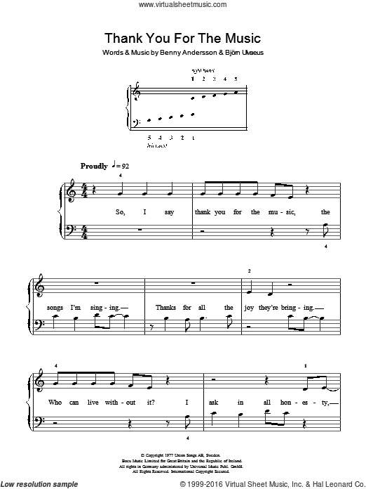 Thank You For The Music sheet music for piano solo , ABBA, Benny Andersson and Bjorn Ulvaeus. Score Image Preview.