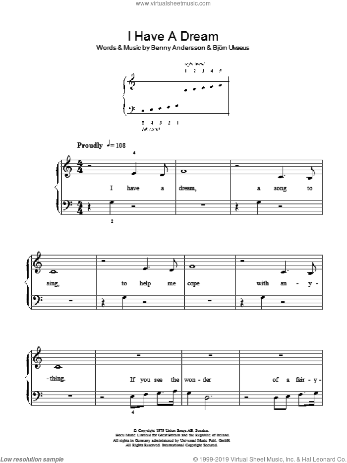 I Have A Dream sheet music for piano solo by Bjorn Ulvaeus, ABBA, Westlife and Benny Andersson. Score Image Preview.