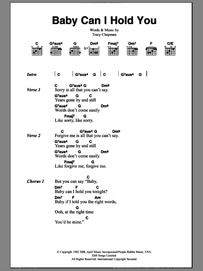 Baby Can I Hold You sheet music for guitar (chords) by Tracy Chapman and Boyzone, intermediate skill level